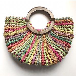 Multicolor straw bag